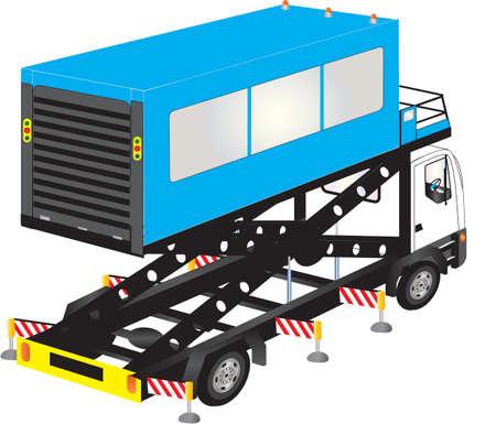 hydraulic platform: Un Aeropuerto Blue Truck Ambulift de alta elevaci�n aislada en blanco