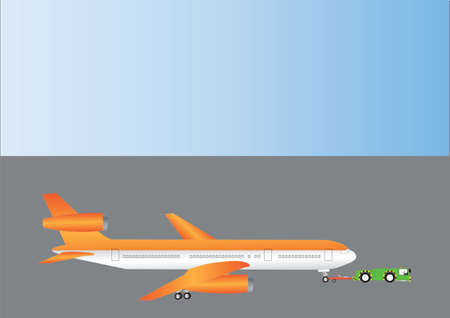 An Orange and Silver Airliner being towed by a Pushback Tractor Stock Vector - 12797990