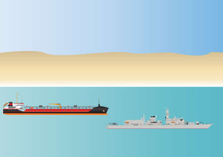 escorting: An Oil Tanker and escorting Warship in Dangerous Pirate Infested Waters Illustration