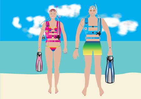 Beautiful Woman Scuba Diver in a bikini with her Boyfriend  on a Tropical Beach with turquoise sea background Vector