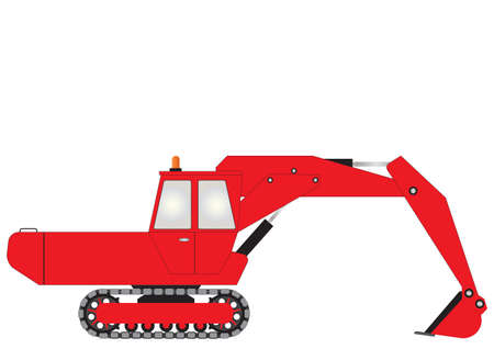 hydraulic: A Red Bucket Excavator isolated on white Illustration
