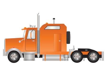 trucker: An Orange American Style Tractor Unit with Sleeper Cab  isolated on White Illustration