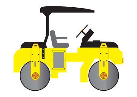 A Yellow Mini Road Roller Stock Vector - 13321677