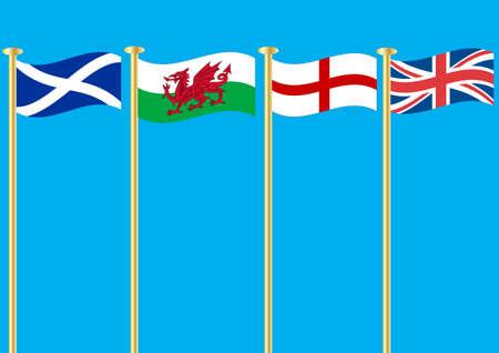 welsh flag: Le bandiere della Scozia Galles San Giorgio e l'Union Jack