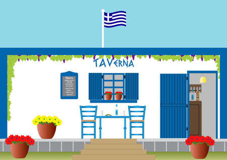 A Traditional Greek Taverna with Table Chairs Flowers surrounded by Grapevine
