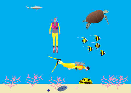 zanclus cornutus: Two Women Scuba Divers on a Coral Reef with a Turtle Moorish Idol Fish and a Shark Illustration