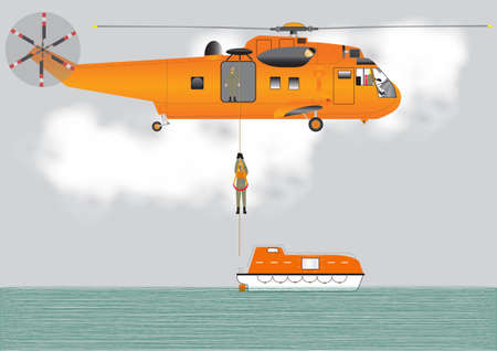 An Orange Search and Rescue Helicopter lowering a Crewman onto a lifeboat Vector