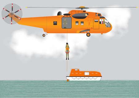 flying boat: Un helic�ptero de b�squeda y rescate de Orange bajar un tripulante en un bote salvavidas Vectores