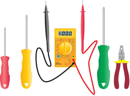 electrical safety: An Elecrical Multimeter and Electricians Tools