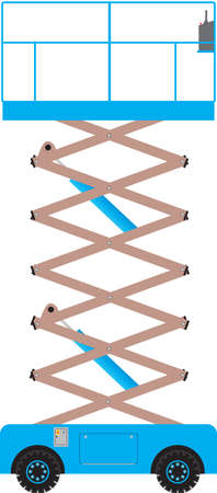 telescopic: Una plataforma de tijera azul extendido Vectores