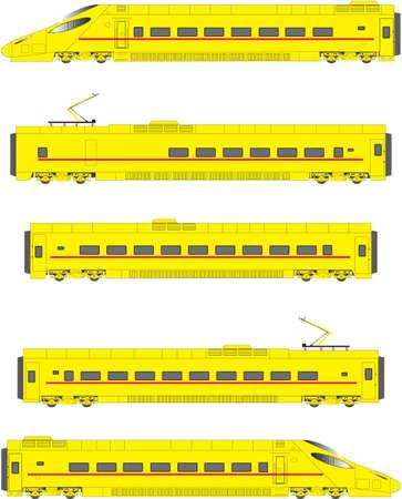 Yellow High Speed Electric kantelbaktrein Power Units en Rijtuigen