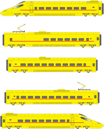 high speed railway: Yellow High Speed Electric Tilting Train Power Units and Carriages Illustration