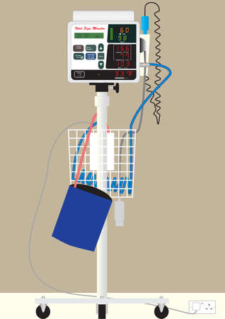 blood pressure monitor: A Hospital Vital Sign Monitor on Trolley with Blood Pressure Cuff and Thermometer Illustration