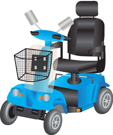 A Blue Electric Mobility Scooter for the Disabled Vector