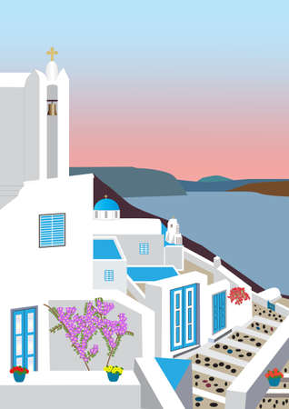 A Village in the Greek Islands at Sunset with Flowers Church and Belltowers and sea view