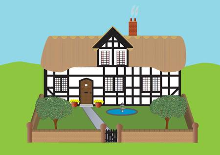 A Half Timbered Thatched Cottage and Garden with Apple Trees Fountain and Flowers Vector