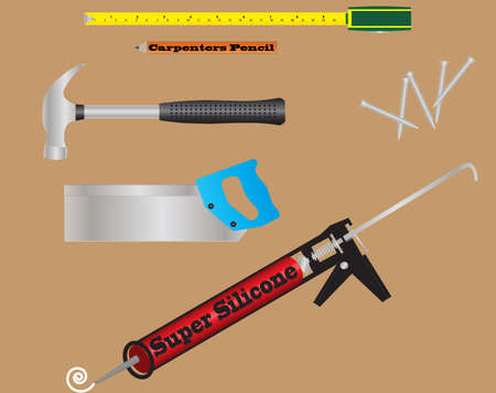 Carpenters Tools A Tape Measure,Pencil,Claw Hammer, Saw,Silicone Gun amd Woodscrews Vector