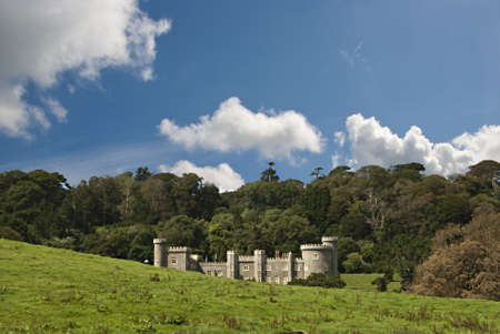 A Nineteenth Century Country House built in the Style of a castle with woodland under a blue sky Stock Photo - 15490994