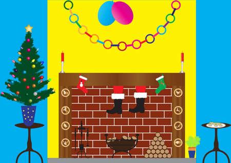log fire: Babbo Natale a scendere camino con Xmas Tree, decorazioni, caminetto, candele, triti torte, natale e calze