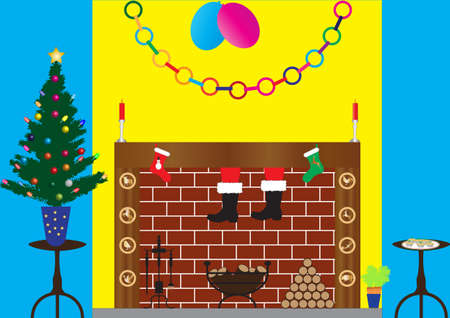 Santa Claus climbing down chimney with Xmas Tree, decorations,log fire,candles,mince pies, and xmas stockings