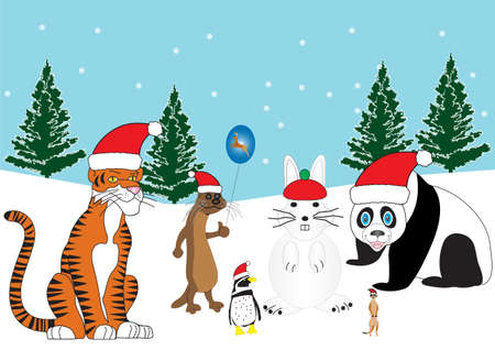 A Tiger,Otter,Penguin and a Meerkat in Santa Hats with a Snowman Rabbit and Snowy Background with Xmas Trees Vector