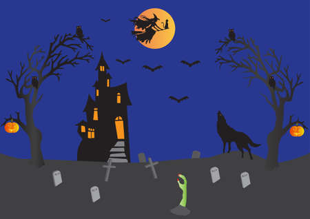 Halloween with Haunted House,Witch on Broomstick with cat,bats,wolf howling,pumpkins,graveyard,ghostly hand Vector