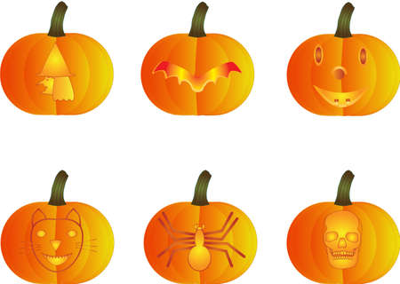 A Witch,Bat,Smiling Face,Cat,Spider and Skull Halloween Pumpkins Vector