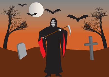 The Grim Reaper in a Graveyard with Bats and Withered Trees Stock Vector - 15684687
