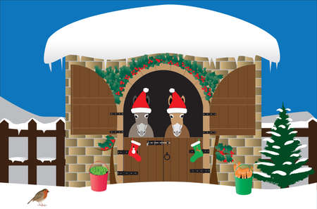 Two Donkeys in Santa Hats in a snow covered stable decorated with holly and a xmas tree