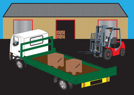 A Red Fork Lift Truck unloading a green flatbed truck outside a warehouse Vector