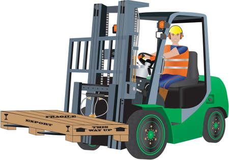 Un chariot élévateur vert et le conducteur transportant une caisse d'emballage