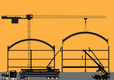 girders:  Silhouette of a Construction Site with Tower Crane Cherry Pickers Mobile Crane and Semi Trailer Loaded with Girders Illustration