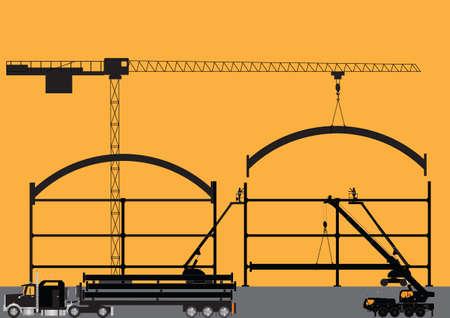 hydraulic platform: Silueta de un sitio de construcci�n con gr�a torre Cherry Pickers Gr�a M�vil y Semi-remolque cargado con vigas