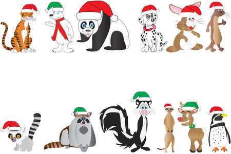A Collection of cute cartoon animals in Christmas Hats Vector