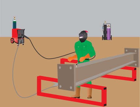 Welder welding a girder with Mig Welder, Oxy Acetylene Set in Background Vector