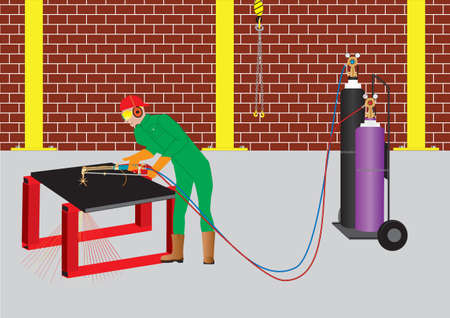 metal cutting: Man Oxy Acetylene Cutting  a circle from a steel plate