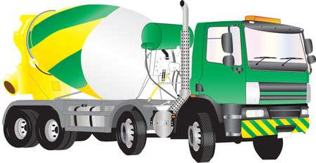 A Camión Hormigonera verde y amarillo aislado en blanco