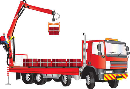 grab: A Red Truck with operator on crane unloading bricks Illustration