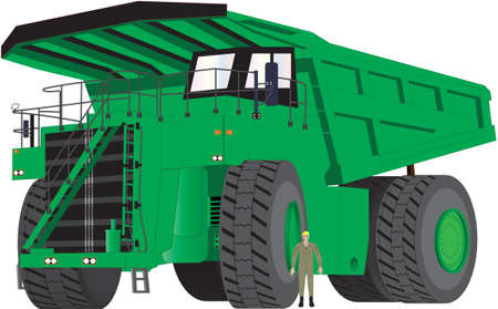 A Green Dumper Truck with man as scale Vector