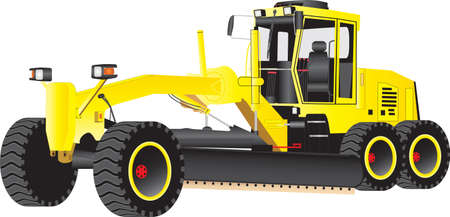 axles: A Yellow Road Grading Machine isolated on  white