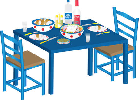 crusty: A Meal of Greek Salad, Olives,Bread and Ouzo on a Blue Table