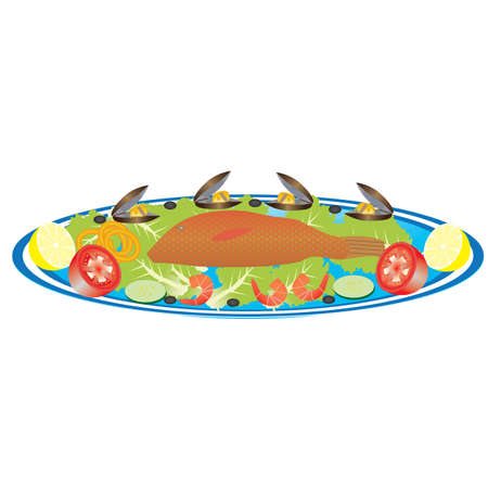 A Platter of Fish,Prawns,Mussels,Squid Rings,Lemon,Tomatoes and Salad Stock Vector - 17359956