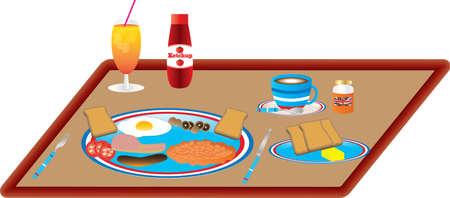 pancetta cubetti: Una prima colazione di uova, pancetta, salsicce, fagioli al forno, pomodori, funghi e toast con succo d'arancia e caffè Vettoriali