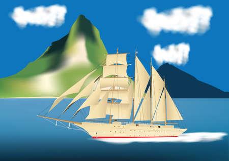 A Four Masted Sailing Ship sailing past a Tropical Island Stock Vector - 17668990
