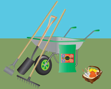 kompost: Eine Schubkarre, Hacke, Spaten, Rechen, Kompost und ein Korb mit Handwerkzeuge und Handschuhe