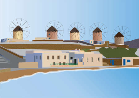 Windmills and Seaside Tavernas on the Greek Island of Mykonos