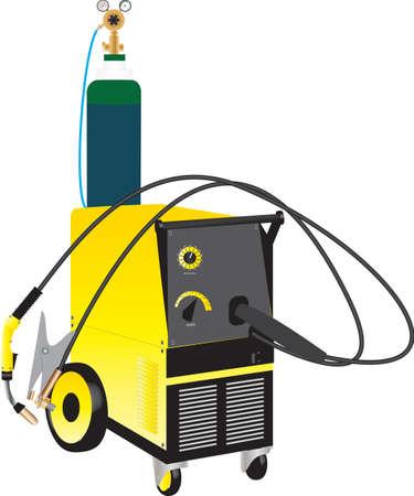 cilindro de gas: Una soldadura Mig Amarillo Aparato de aislados en blanco