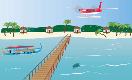 maldives island: A Floatplane landing at an Island in the Maldives with a Dhoni boat,bungalows and a Jetty