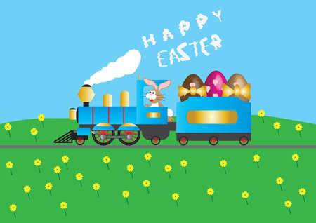 loaded: A Steam Train loaded with Easter Eggs driven by a Rabbit wishing Happy Easter in smoke