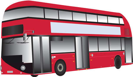 A Modern Red Double Deck Hybrid Bus isolated on white Stock Vector - 18349239